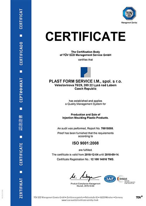 Certifikát - Plast Form Service IM s.r.o. - vstřikování plastů