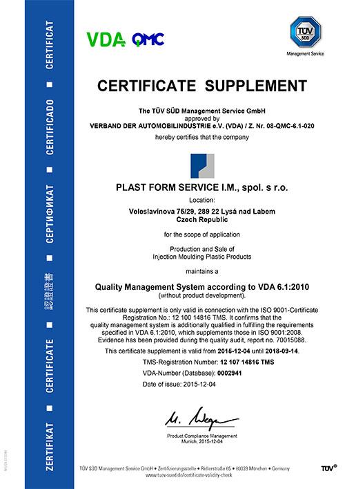Certifikaát - Plast Form Service IM s.r.o. - vstřikování plastů